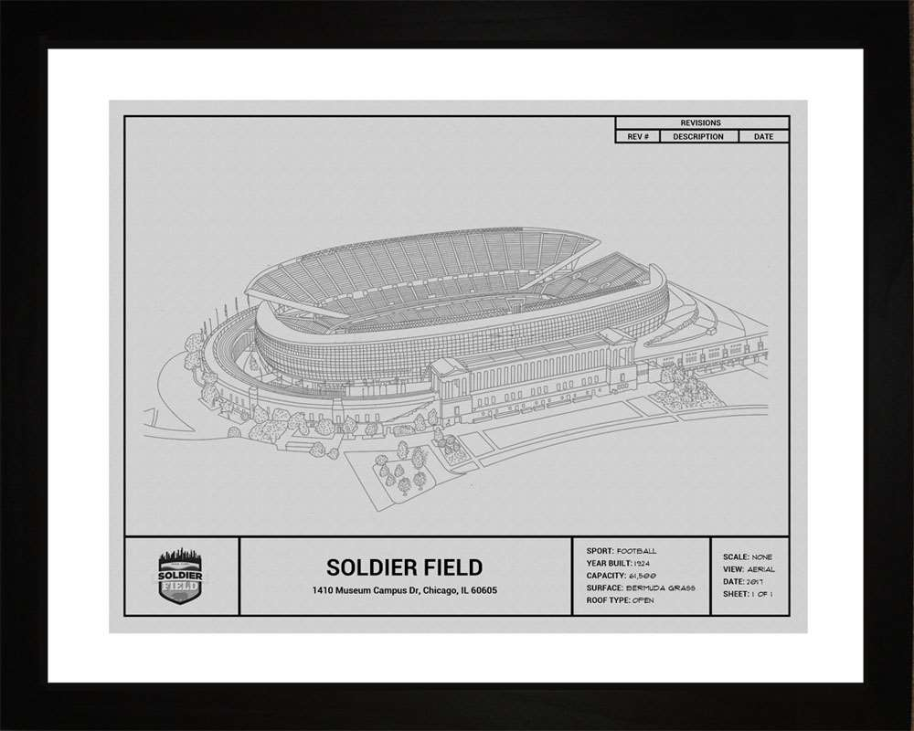 Soldier Field Blueprint, Chicago Bears, 16x20