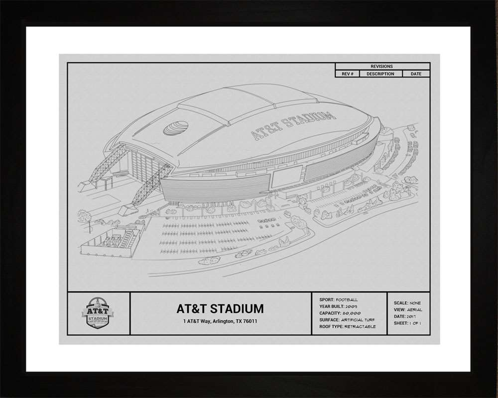 AT&T Stadium Blueprint, Dallas Cowboys, 16x20