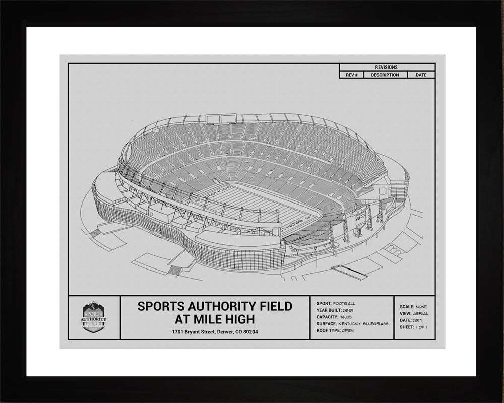 Sports Authority Field at Mile High Blueprint, Denver Broncos, 16x20