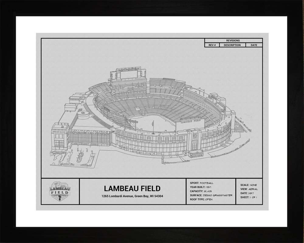 Lambeau Field Blueprint, Green Bay Packers, 16x20