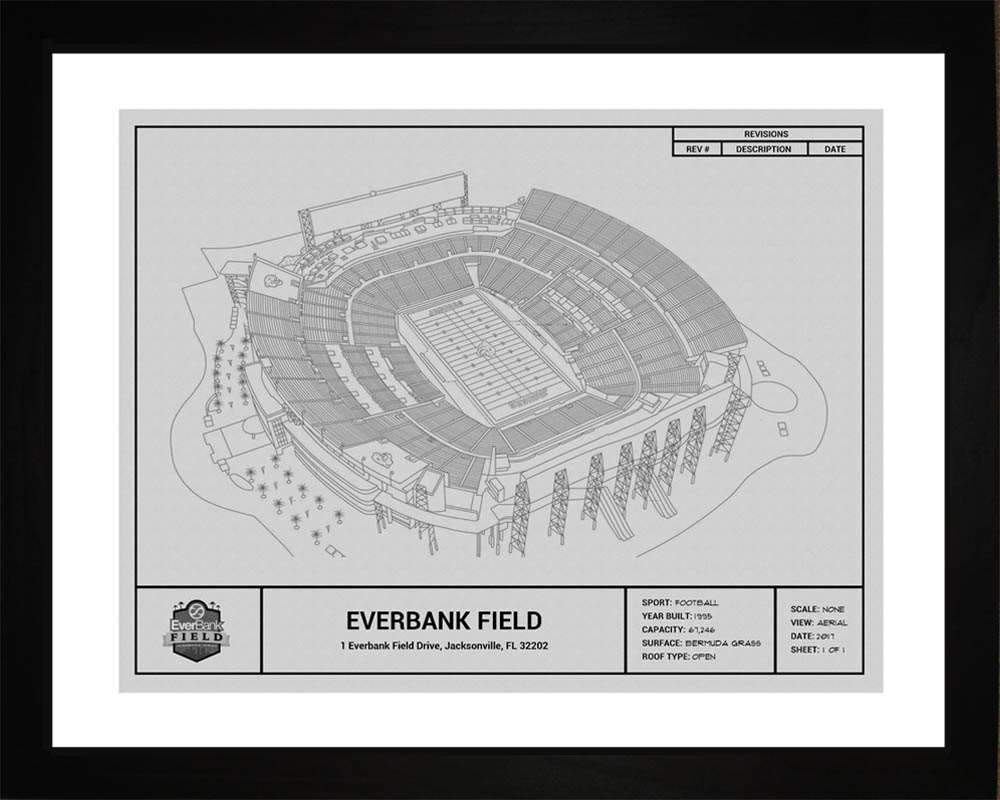 EverBank Field Blueprint, Jacksonville Jaguars, 16x20