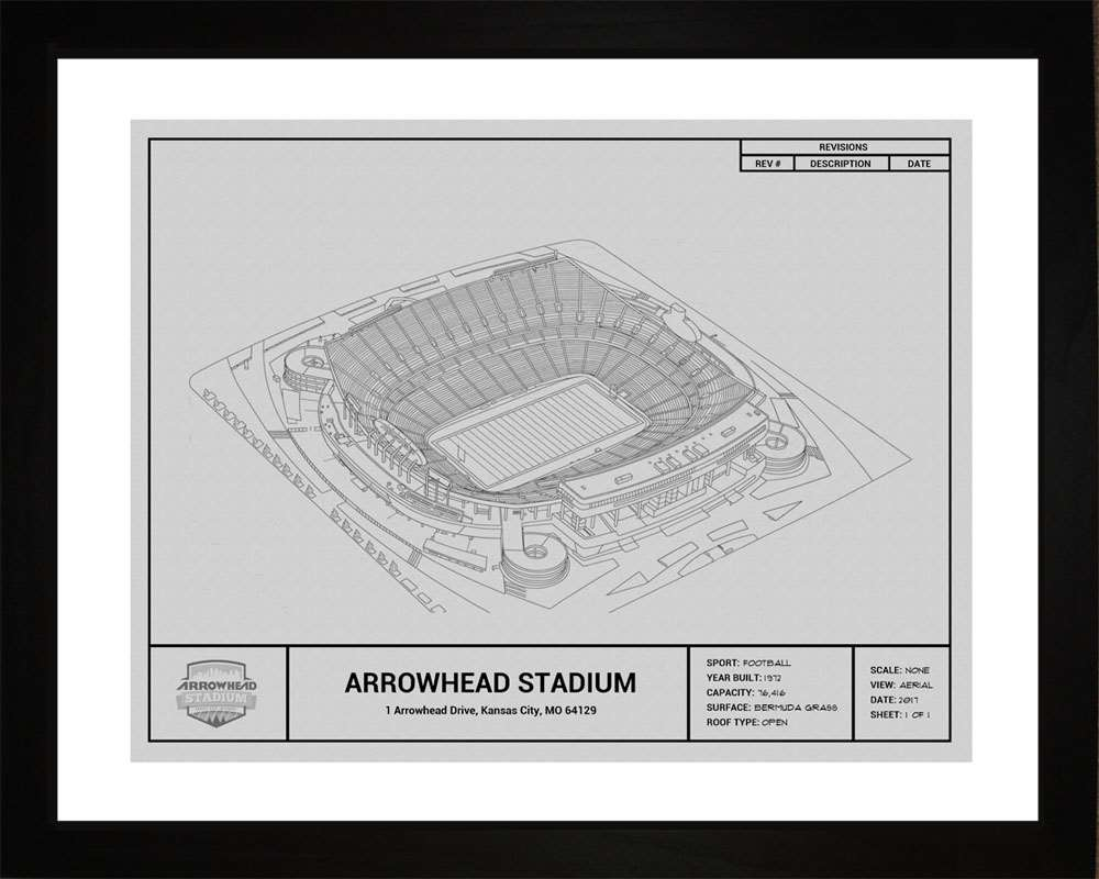 Arrowhead Stadium Blueprint, Kansas City Chiefs, 16x20