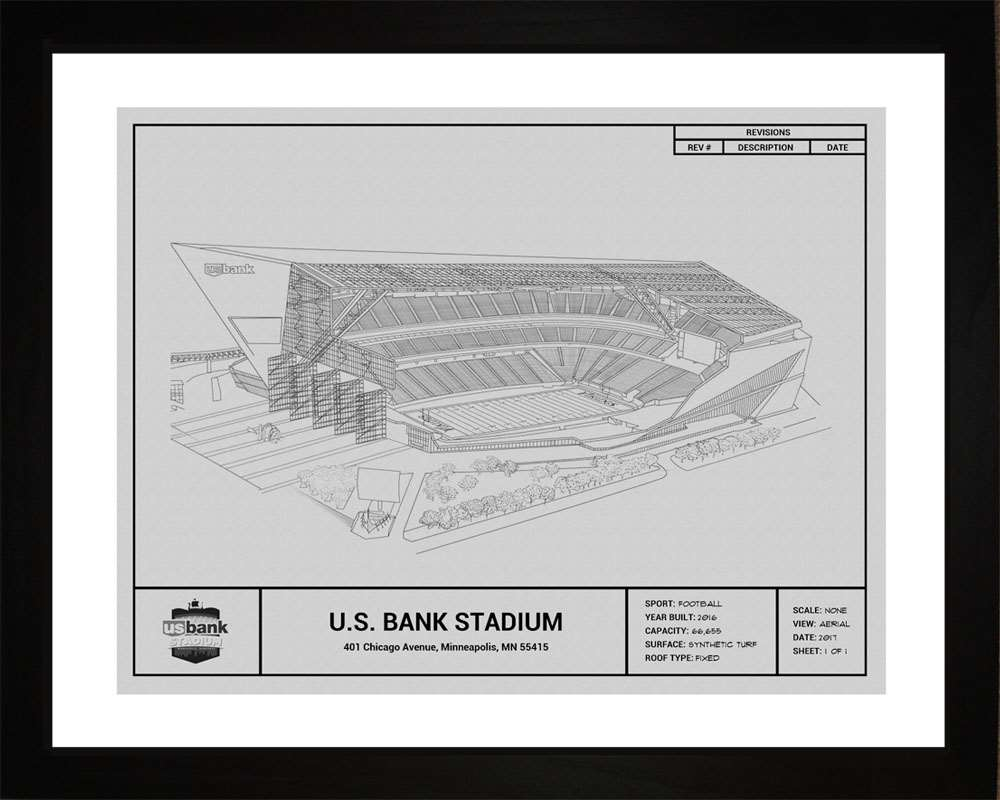 U.S. Bank Stadium Blueprint, Minnesota Vikings, 16x20