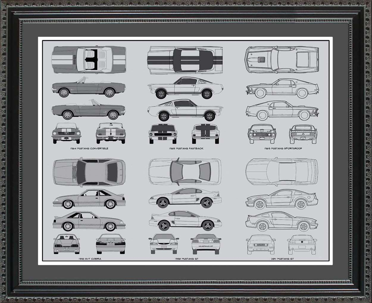 Ford Mustang Blueprint Collection, 20x24