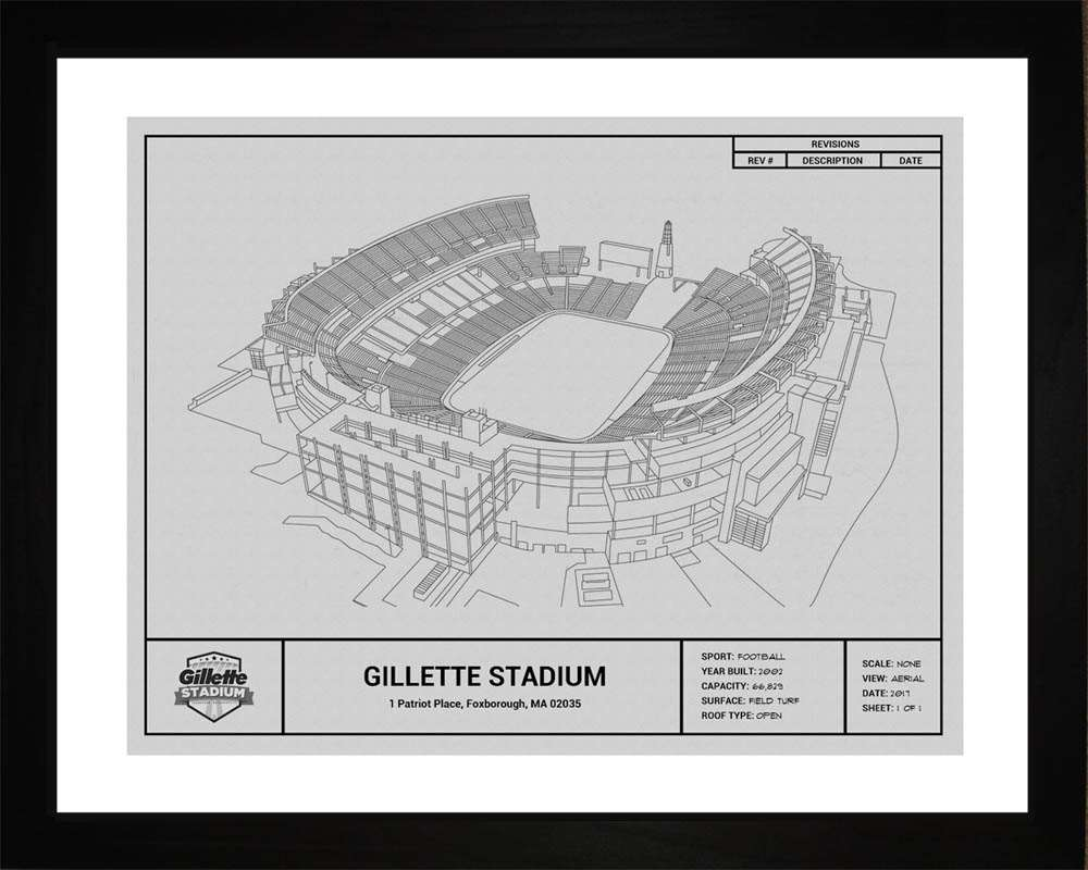 Gillette Stadium Blueprint, New England Patriots, 16x20