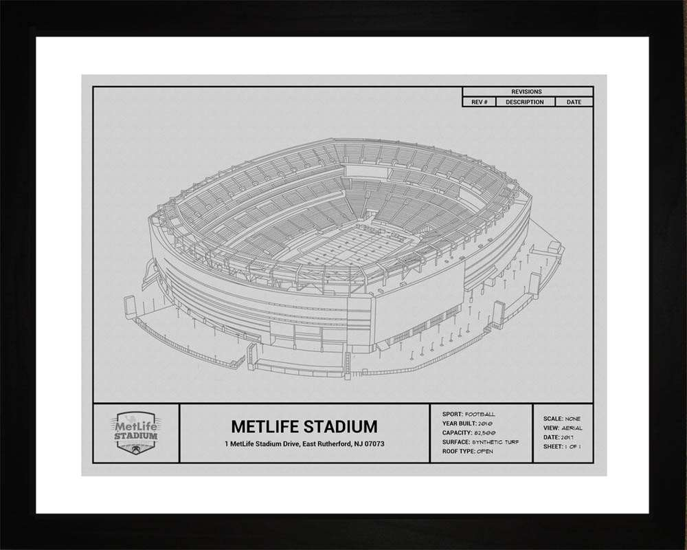 MetLife Stadium Blueprint, New York Giants, 16x20