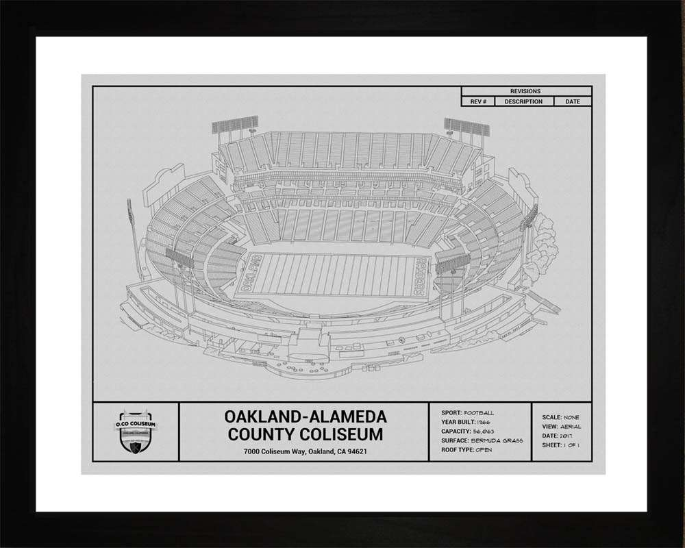 Oakland-Alameda County Coliseum Blueprint, Oakland Raiders, 16x20