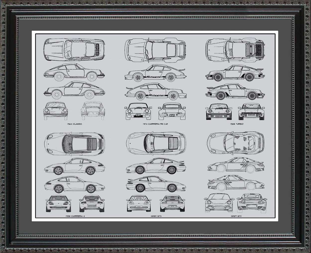Porsche 911 Blueprint Collection, 20x24
