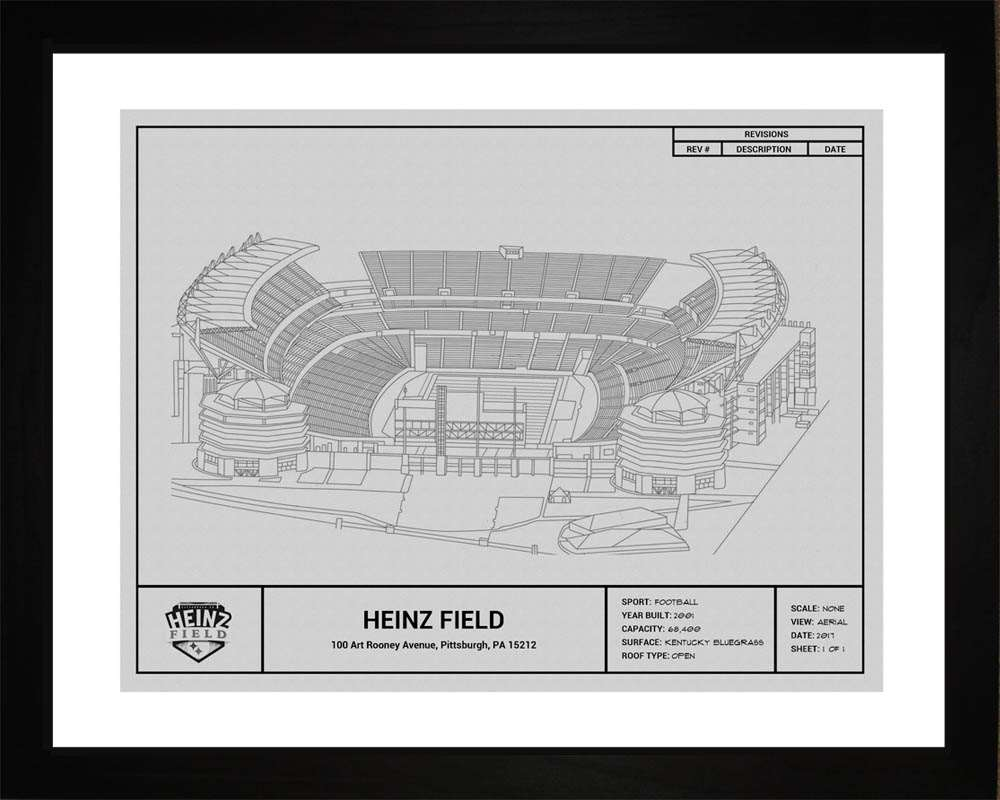Heinz Field Blueprint, Pittsburgh Steelers, 16x20