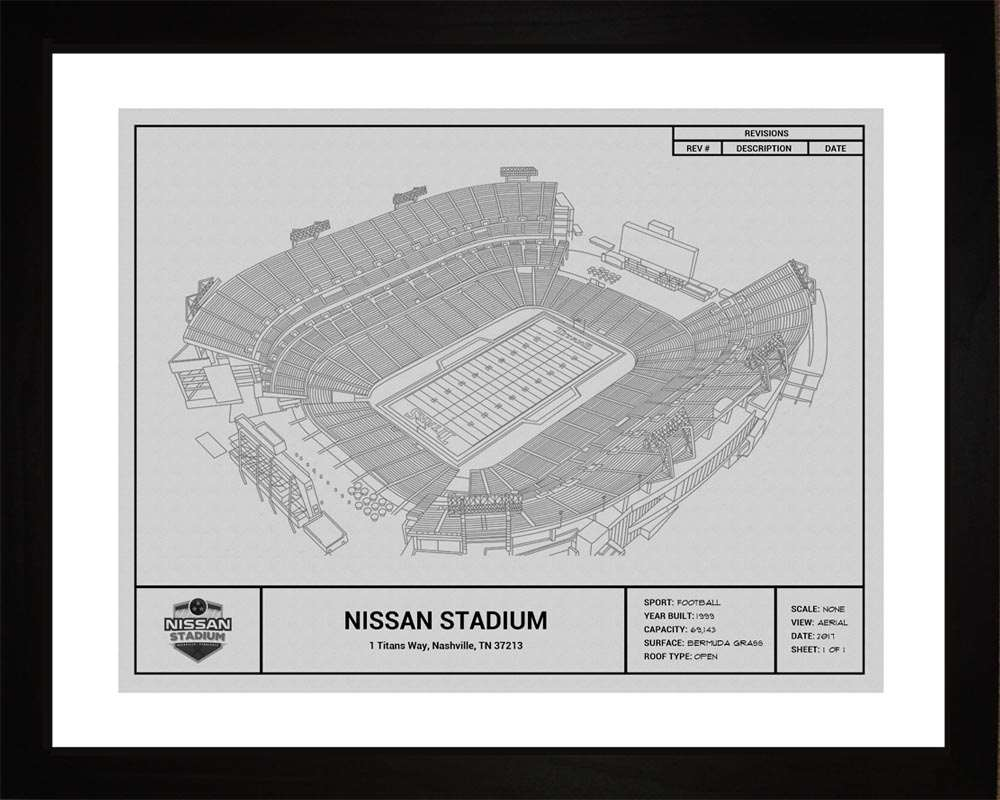 Nissan Stadium Blueprint, Tennessee Titans, 16x20