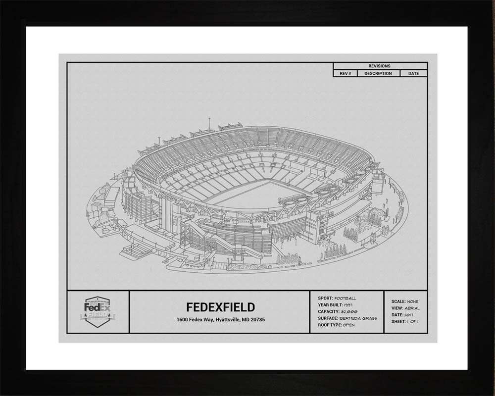 FedExField Blueprint, Washington Football, 16x20