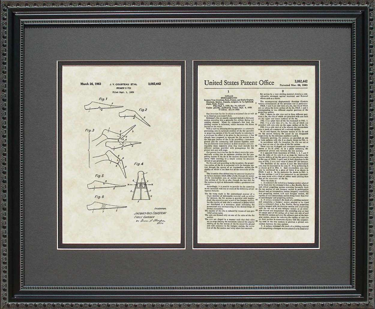 Scuba Diving Fins Patent, Art & Copy, Cousteau, 1959, 16x20
