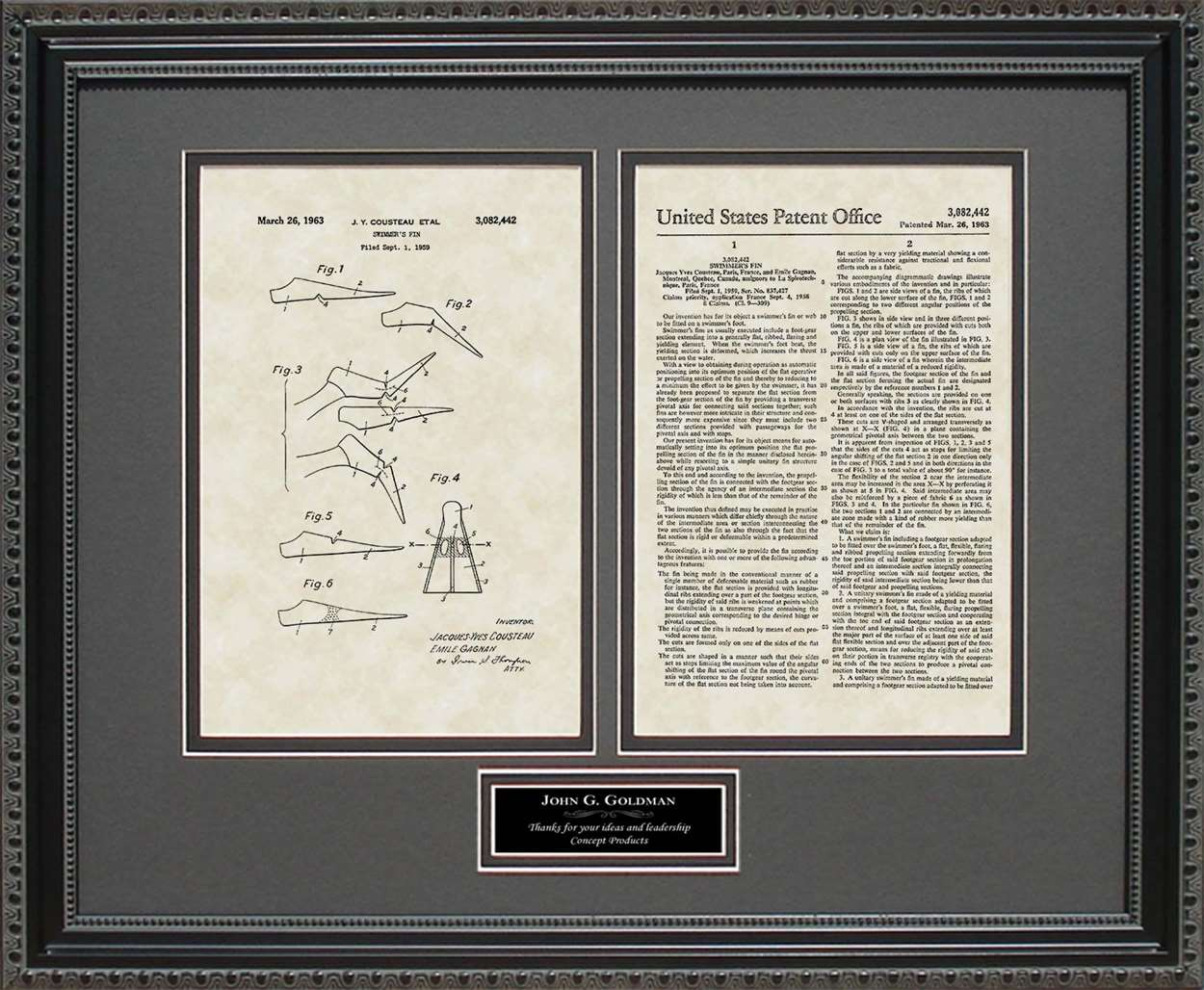 Personalized Scuba Diving Fins Patent, Art & Copy, Cousteau, 1959