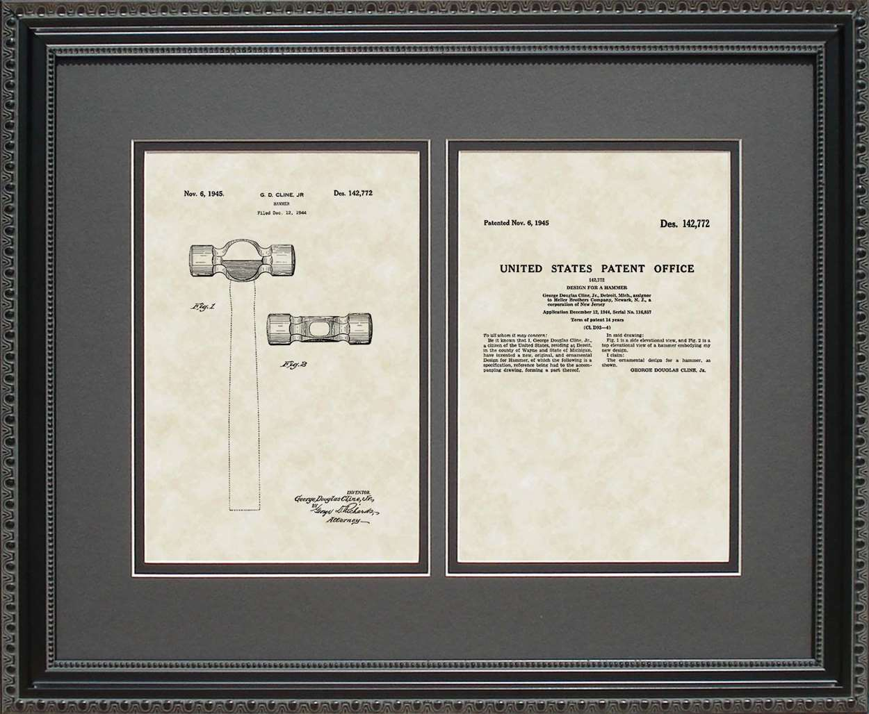 Farrier-Head Hammer Patent, Art & Copy, Cline, 1945, 16x20