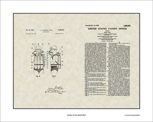 Scuba Diving Equipment Patent, Art & Copy, Cousteau, 1949, 16x20