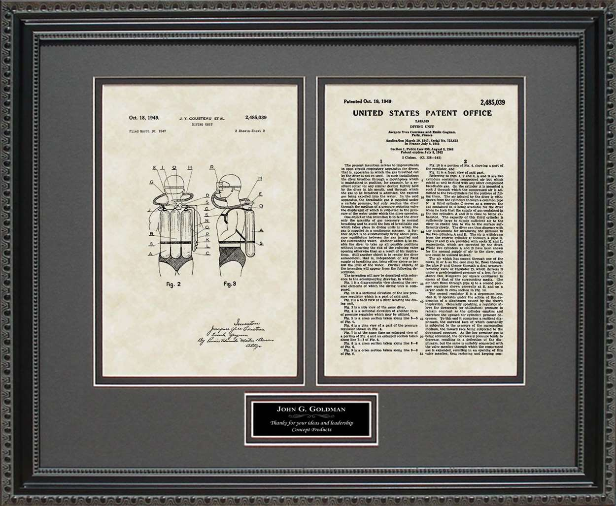 Personalized Scuba Diving Equipment Patent, Art & Copy, Cousteau, 1949