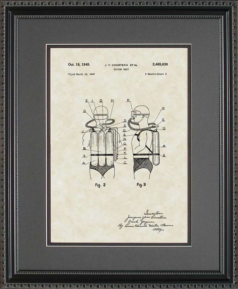 Scuba Diving Equipment Patent Art, Cousteau, 1949