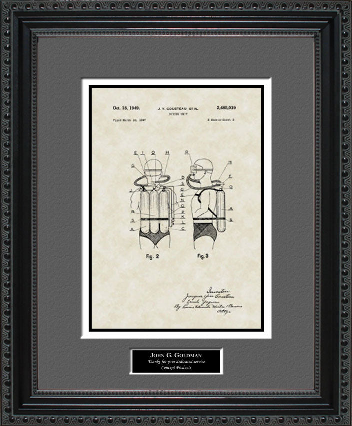Personalized Scuba Diving Equipment Patent Art, Cousteau, 1949