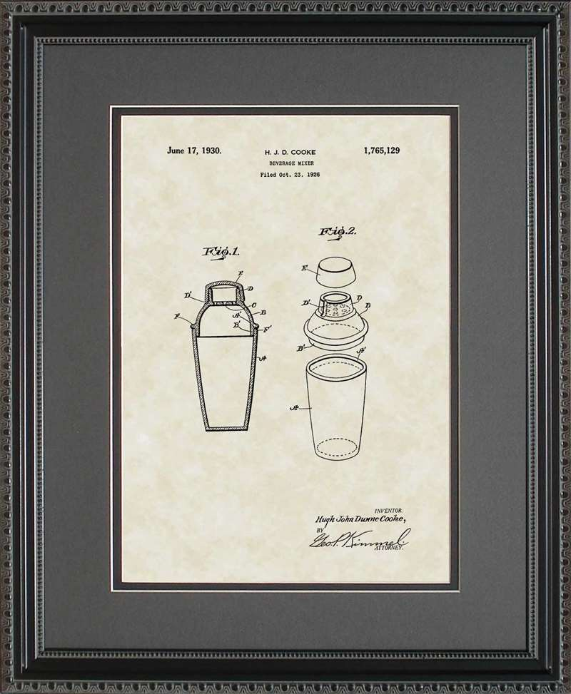 Cocktail Mixer Patent Art, Cooke, 1930