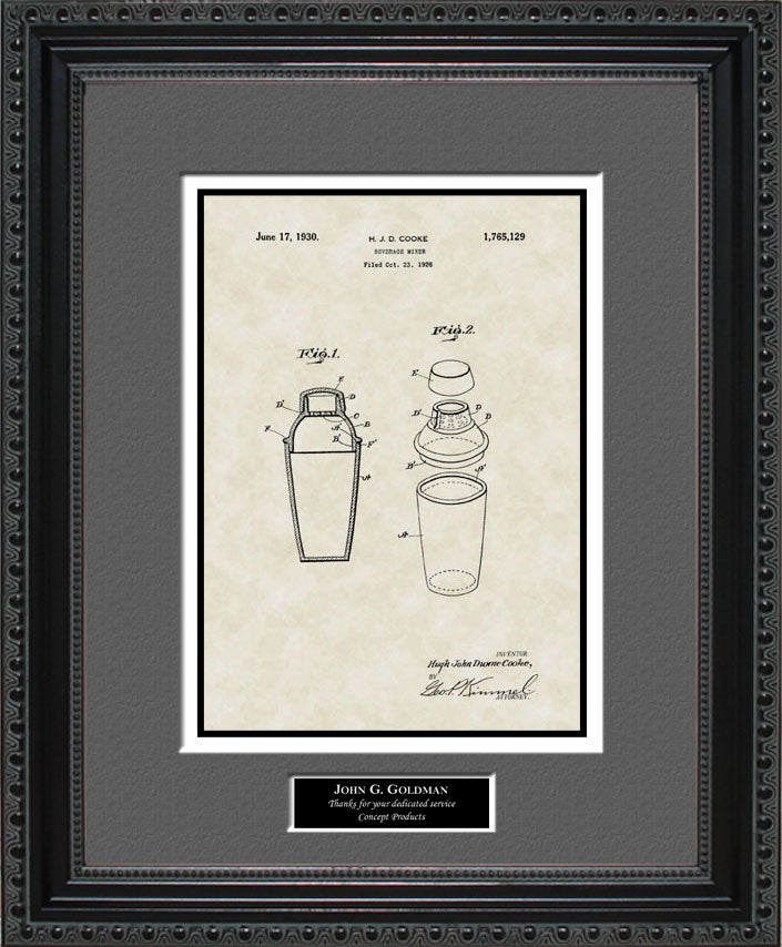 Personalized Cocktail Mixer Patent Art, Cooke, 1930