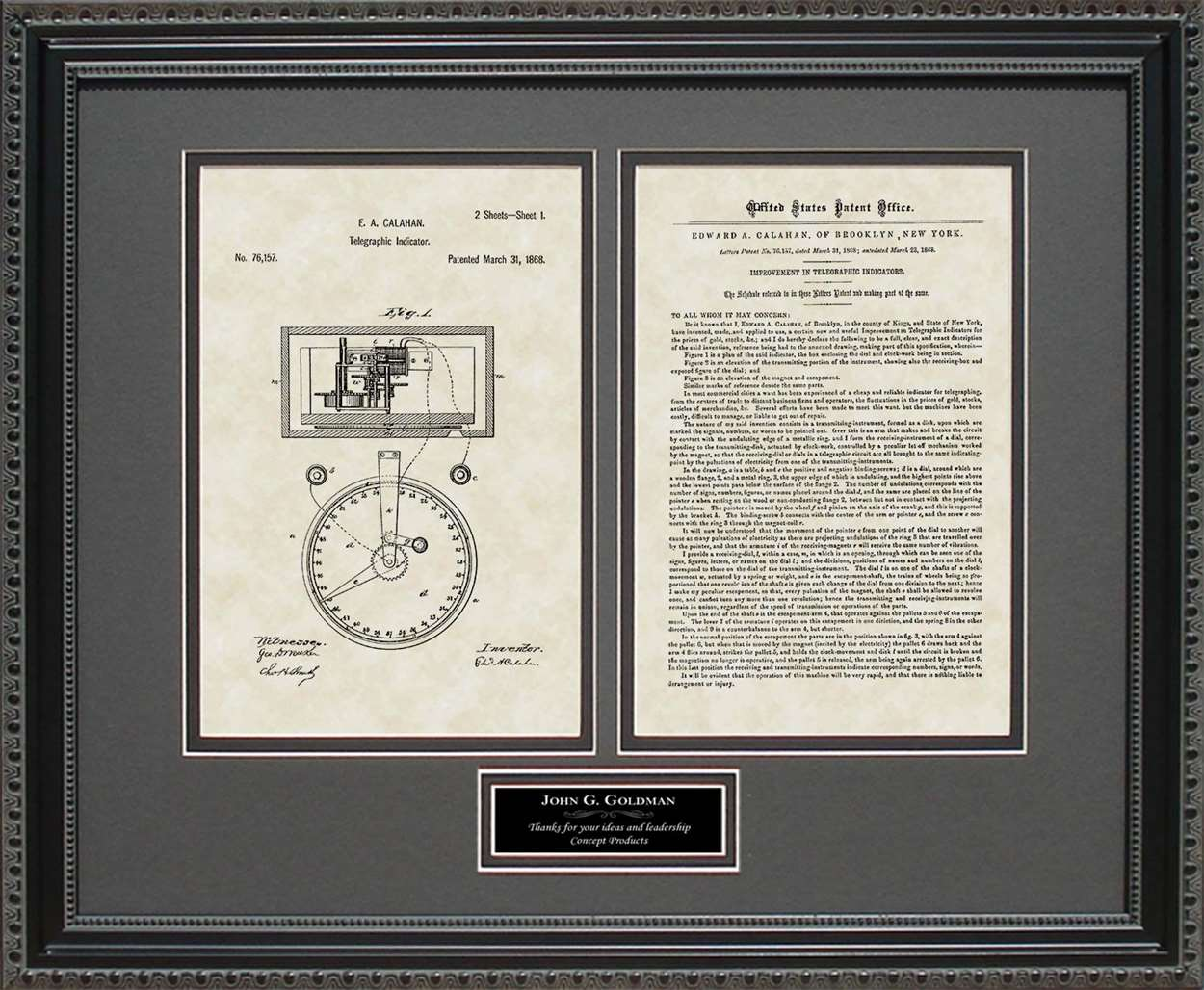 Personalized Stock Ticker Patent, Art & Copy, Calahan, 1868