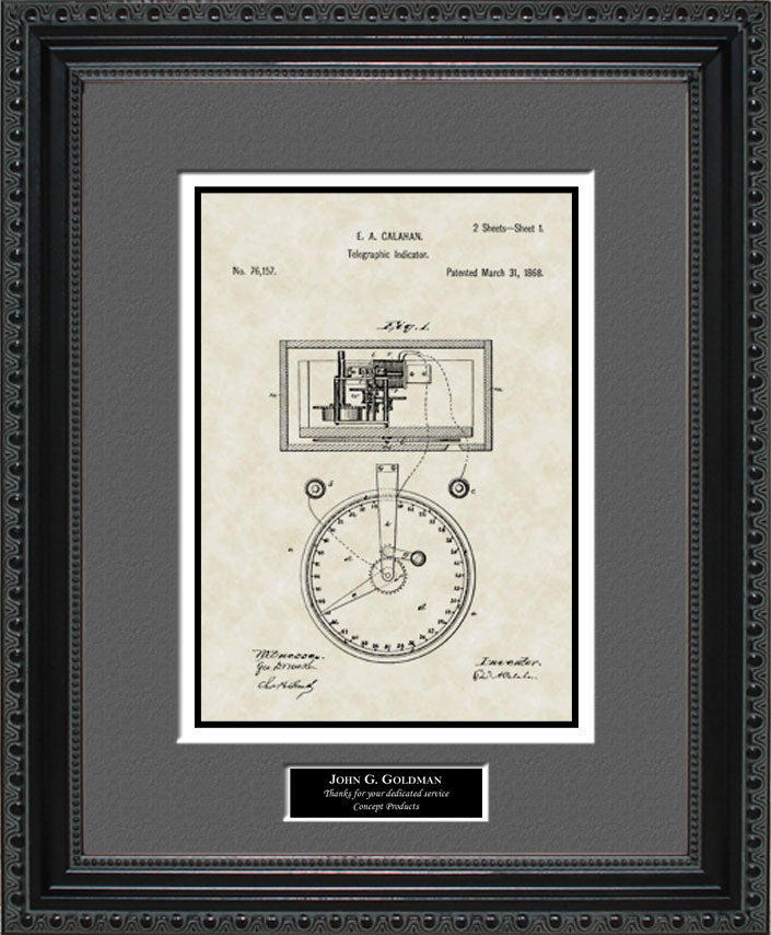 Personalized Stock Ticker Patent Art, Calahan, 1868