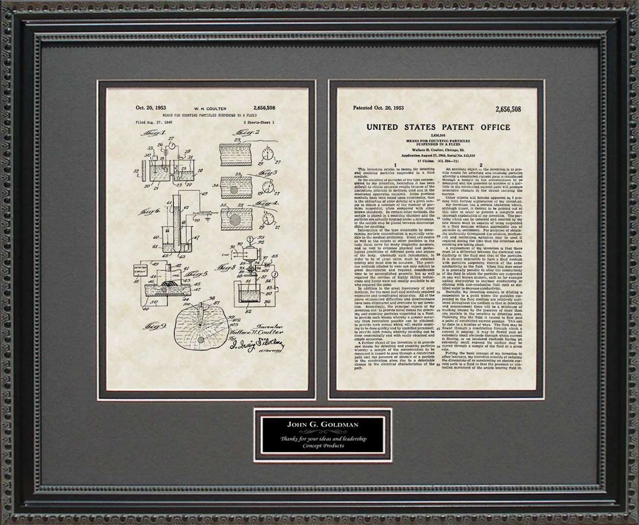 Personalized Coulter Principle Patent, Art & Copy, Coulter, 1953