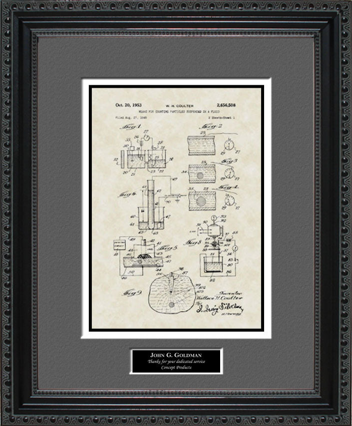 Personalized Coulter Principle Patent Art, Coulter, 1953
