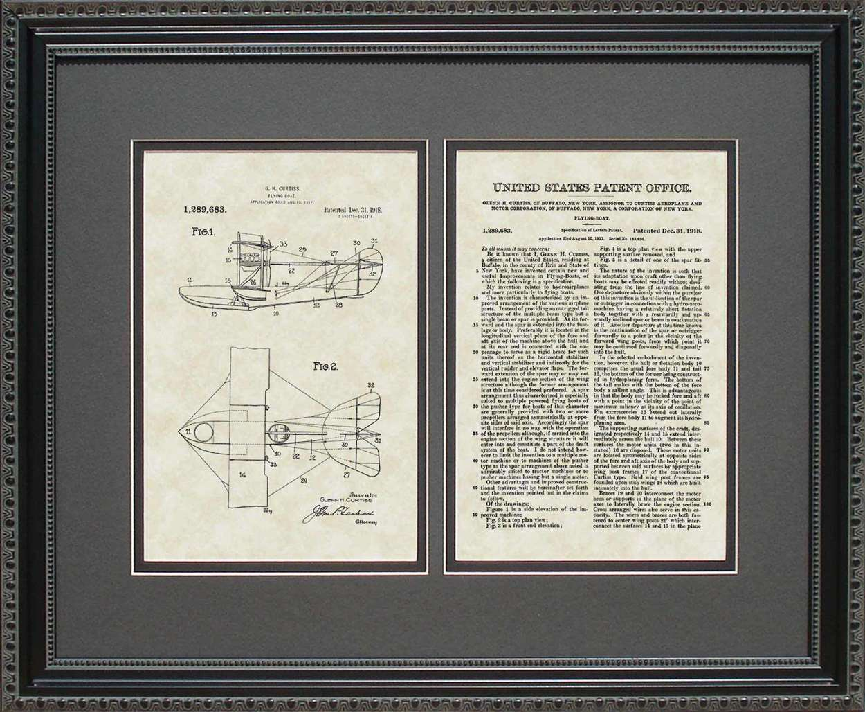 Flying Boat Patent, Art & Copy, Curtiss, 1918, 16x20