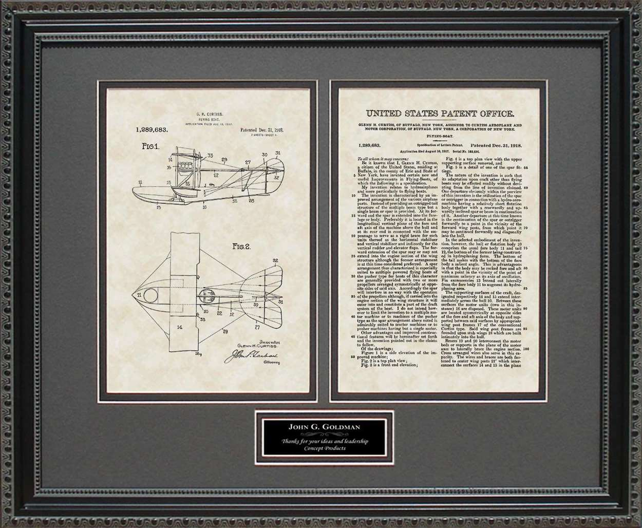 Personalized Flying Boat Patent, Art & Copy, Curtiss, 1918