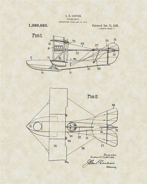 Flying Boat Patent Art, Curtiss, 1918