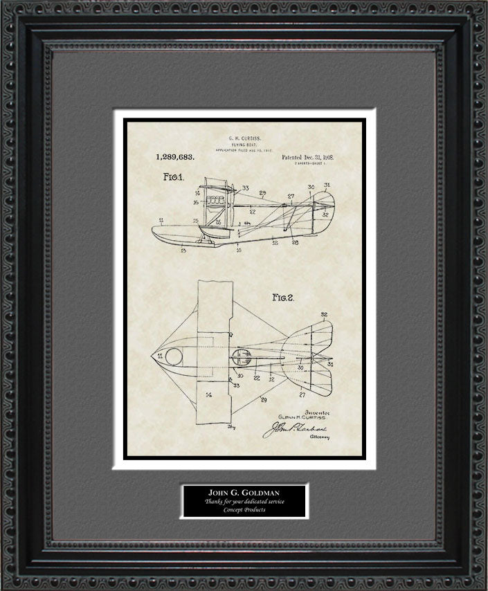 Personalized Flying Boat Patent Art, Curtiss, 1918