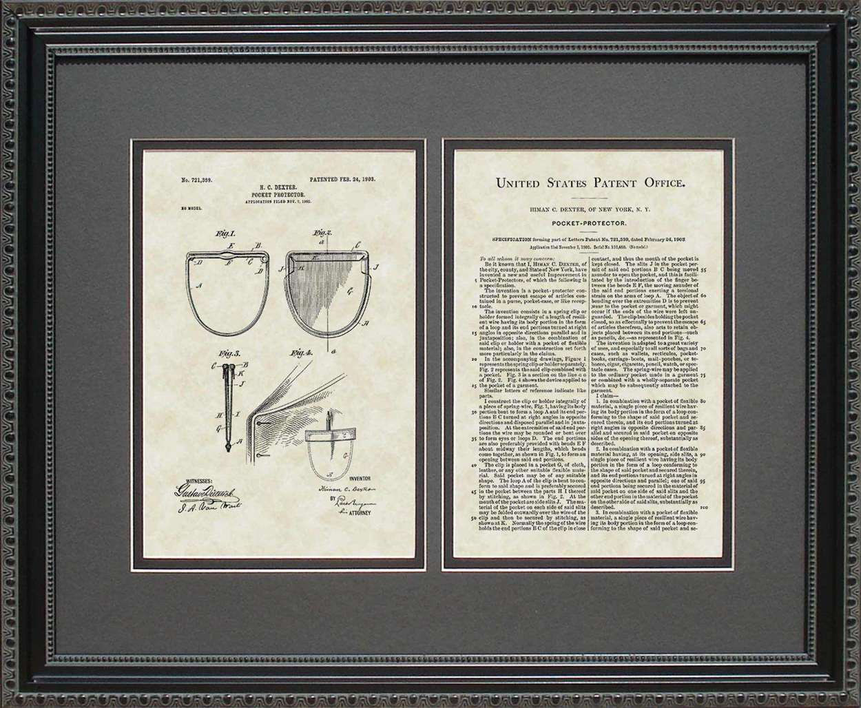 Pocket Protector Patent, Art & Copy, Dexter, 1903, 16x20
