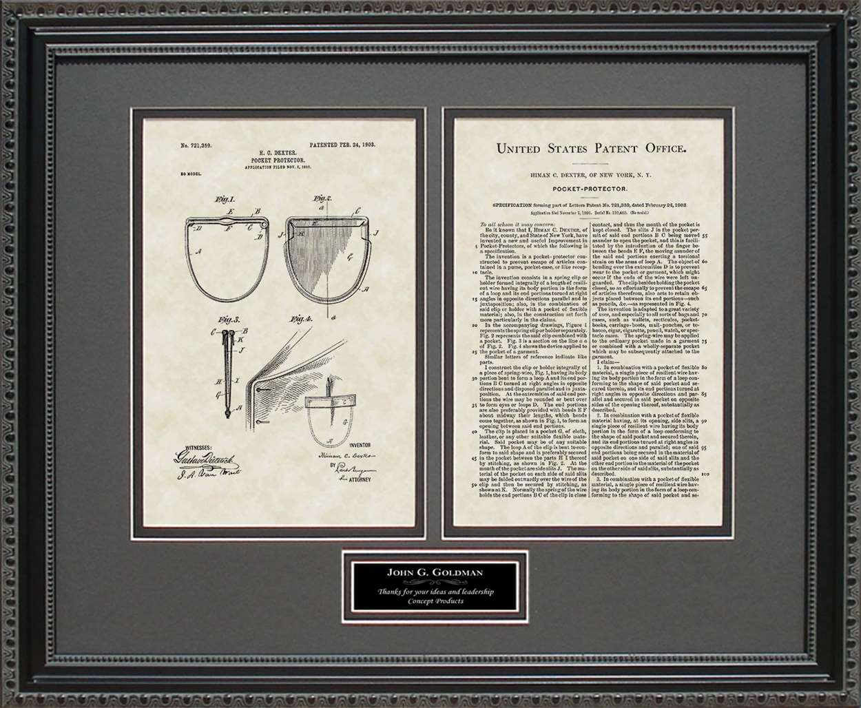 Personalized Pocket Protector Patent, Art & Copy, Dexter, 1903