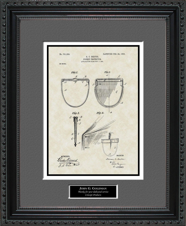 Personalized Pocket Protector Patent Art, Dexter, 1903