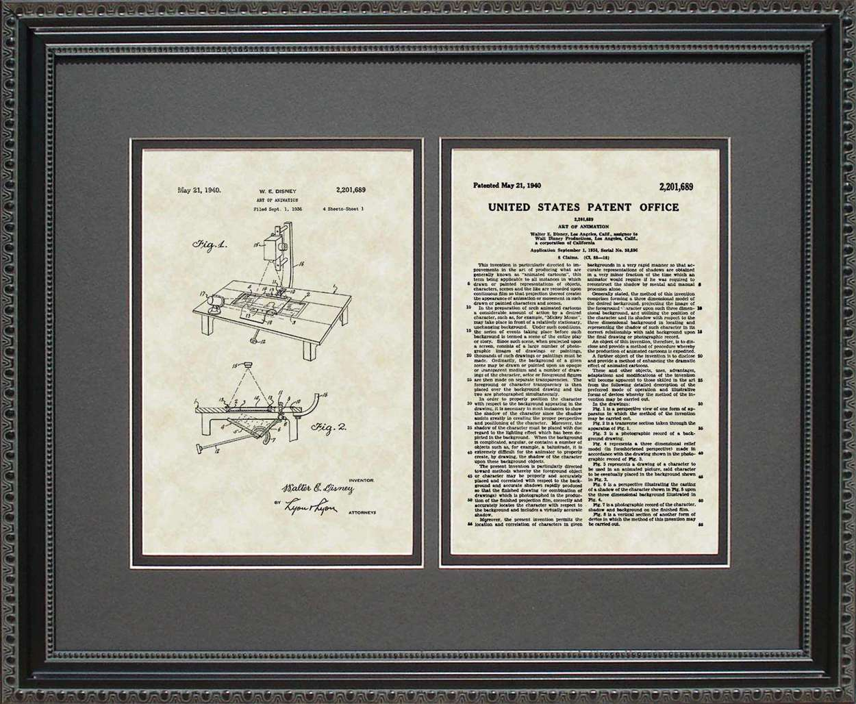 Art of Animation Patent, Art & Copy, Disney, 1940, 16x20