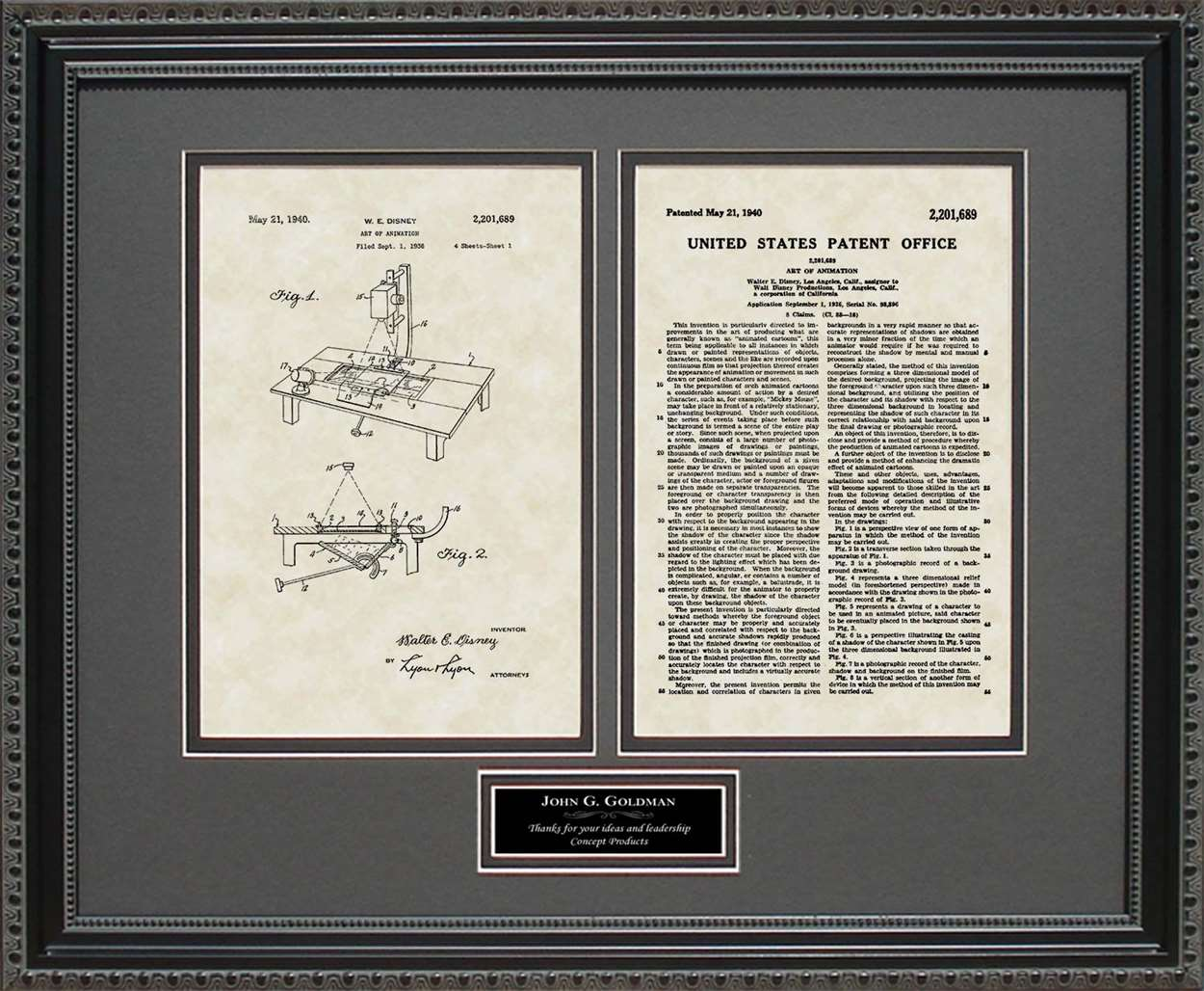 Personalized Art of Animation Patent, Art & Copy, Disney, 1940