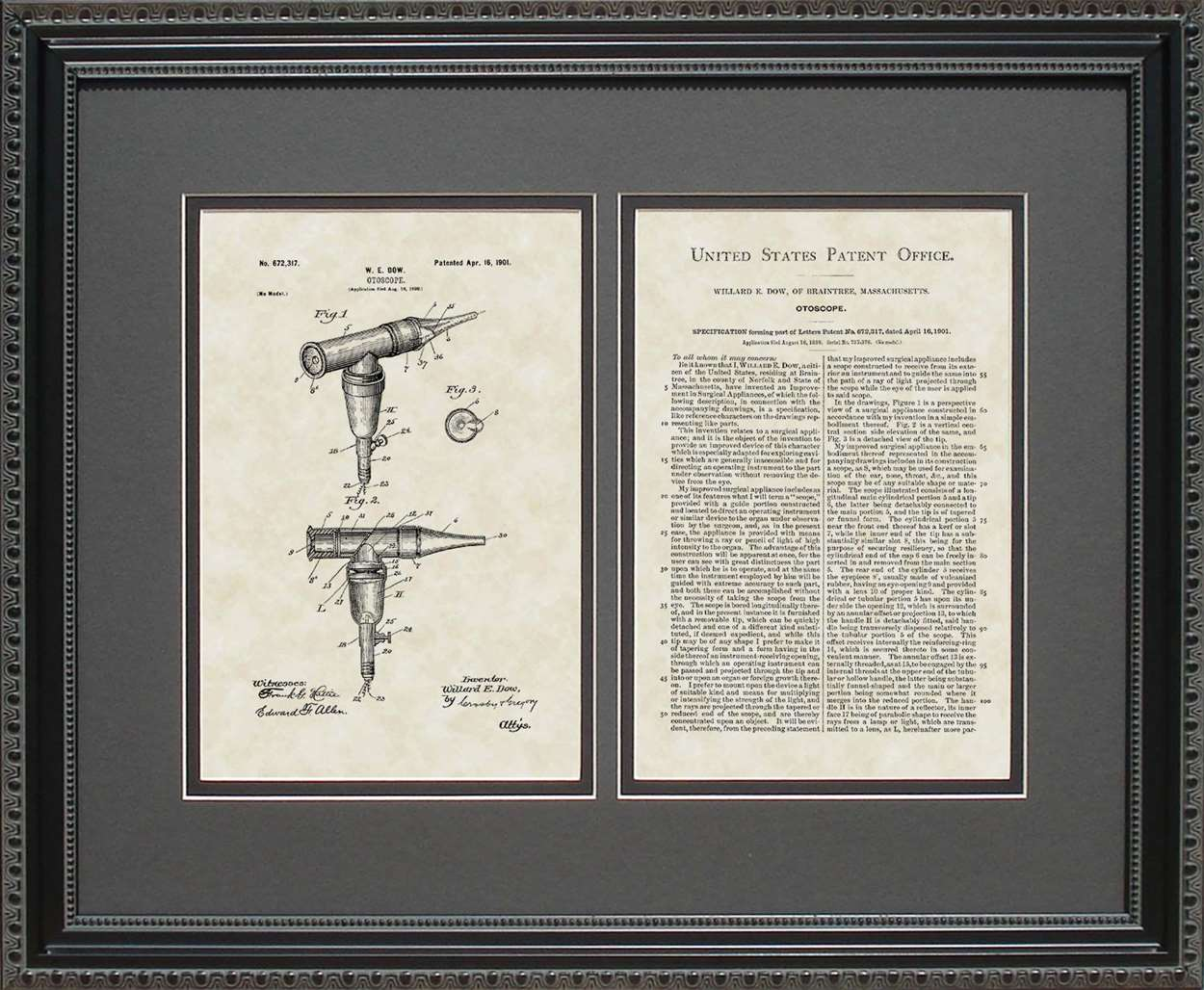 Otoscope Patent, Art & Copy, Dow, 1901, 16x20