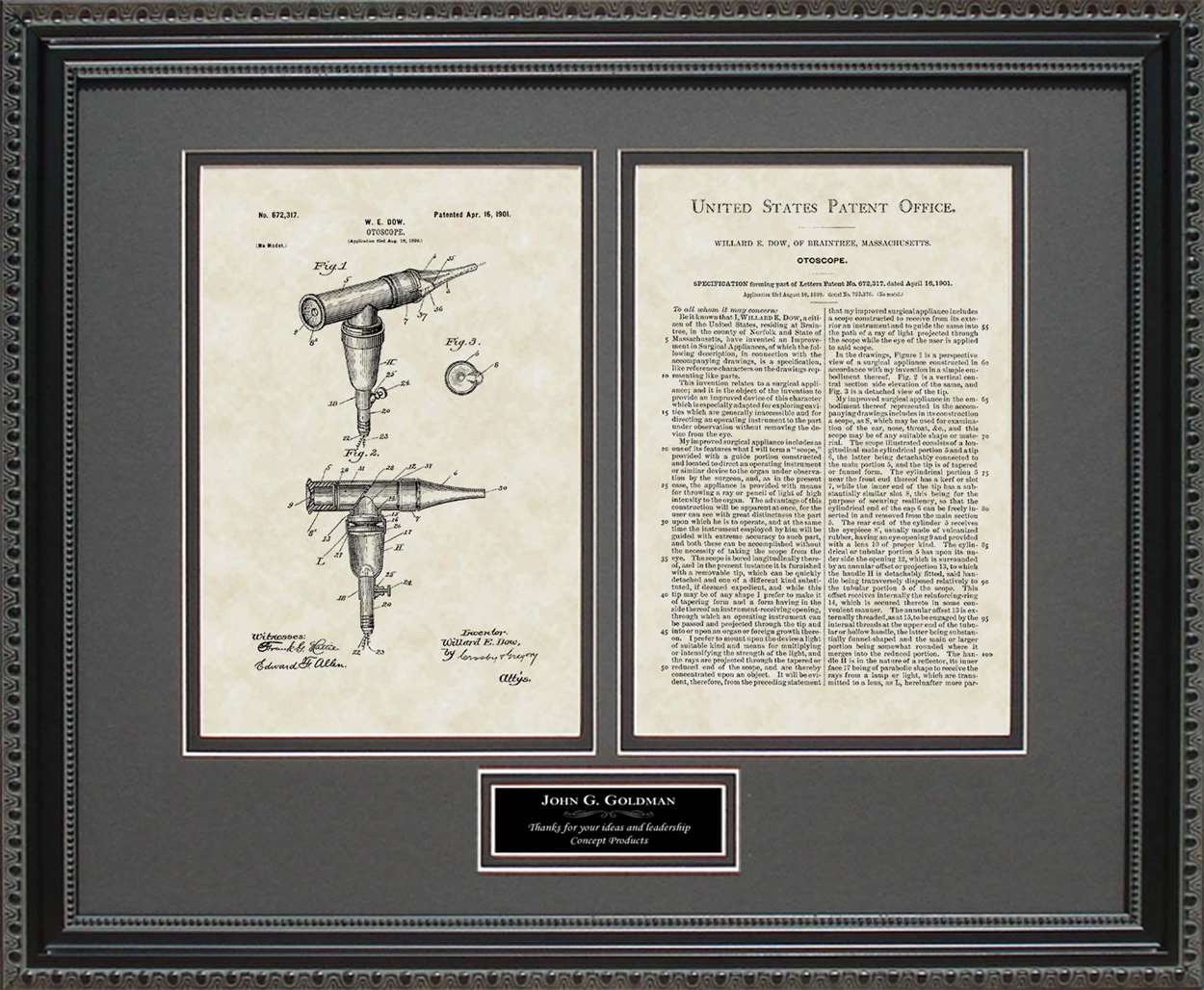 Personalized Otoscope Patent, Art & Copy, Dow, 1901