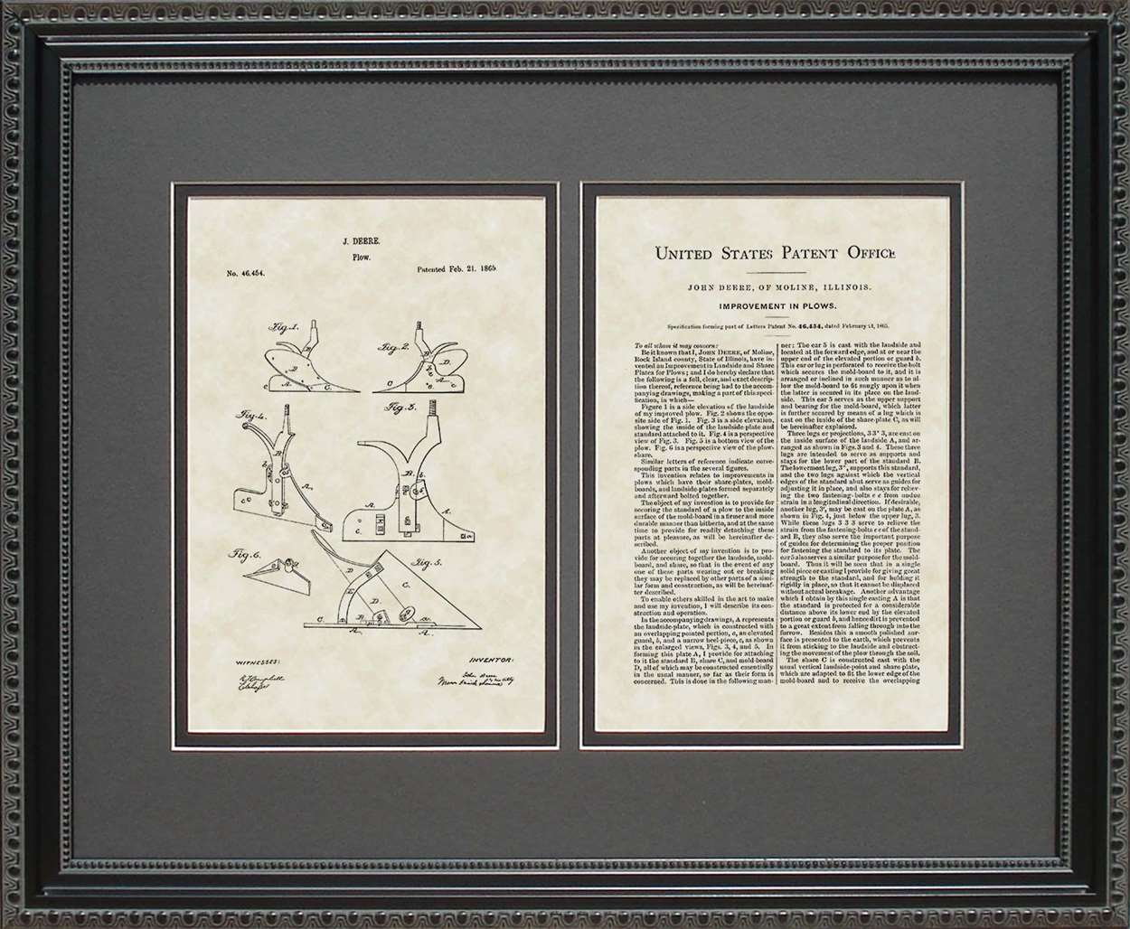Plow/Implement Patent, Art & Copy, Deere, 1865, 16x20