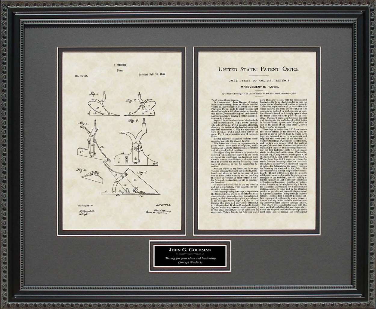 Personalized Plow/Implement Patent, Art & Copy, Deere, 1865
