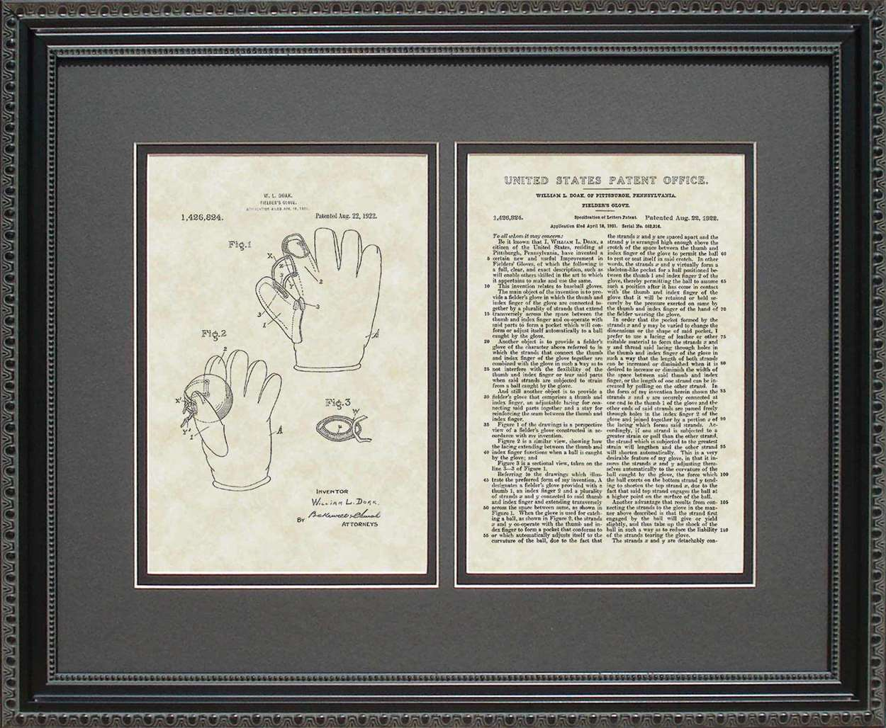 Baseball Glove Patent, Art & Copy, Doak, 1922, 16x20