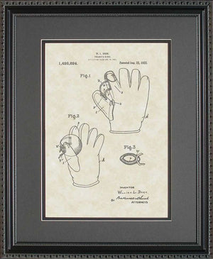 Baseball Glove Patent Art, Doak, 1922