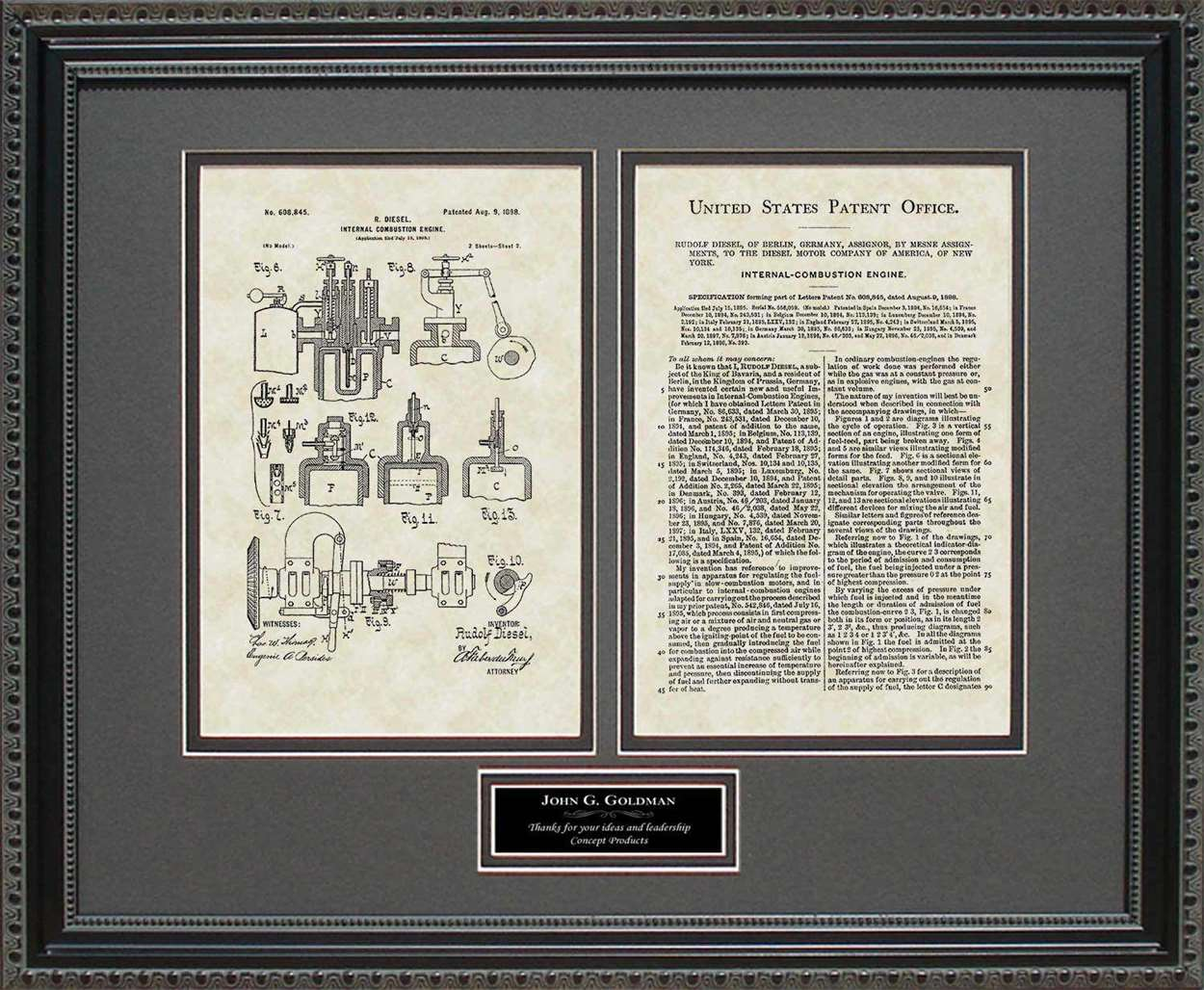 Personalized Diesel Engine Patent, Art & Copy, Diesel, 1898