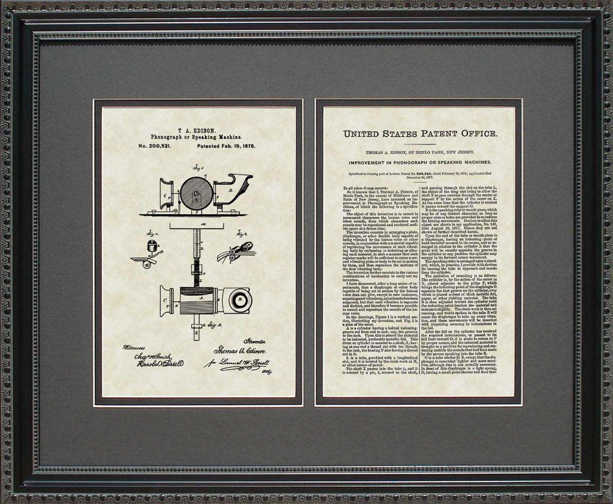 Phonograph/Record Player Patent, Art & Copy, Edison, 1878, 16x20