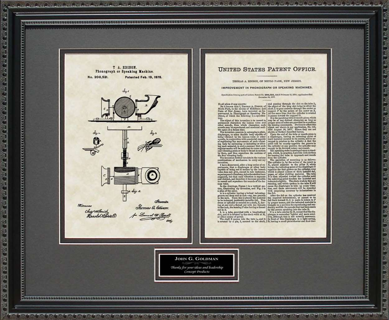 Personalized Phonograph/Record Player Patent, Art & Copy, Edison, 1878