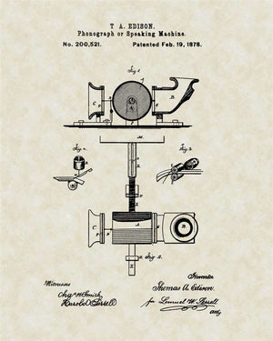 Phonograph/Record Player Patent Art, Edison, 1878