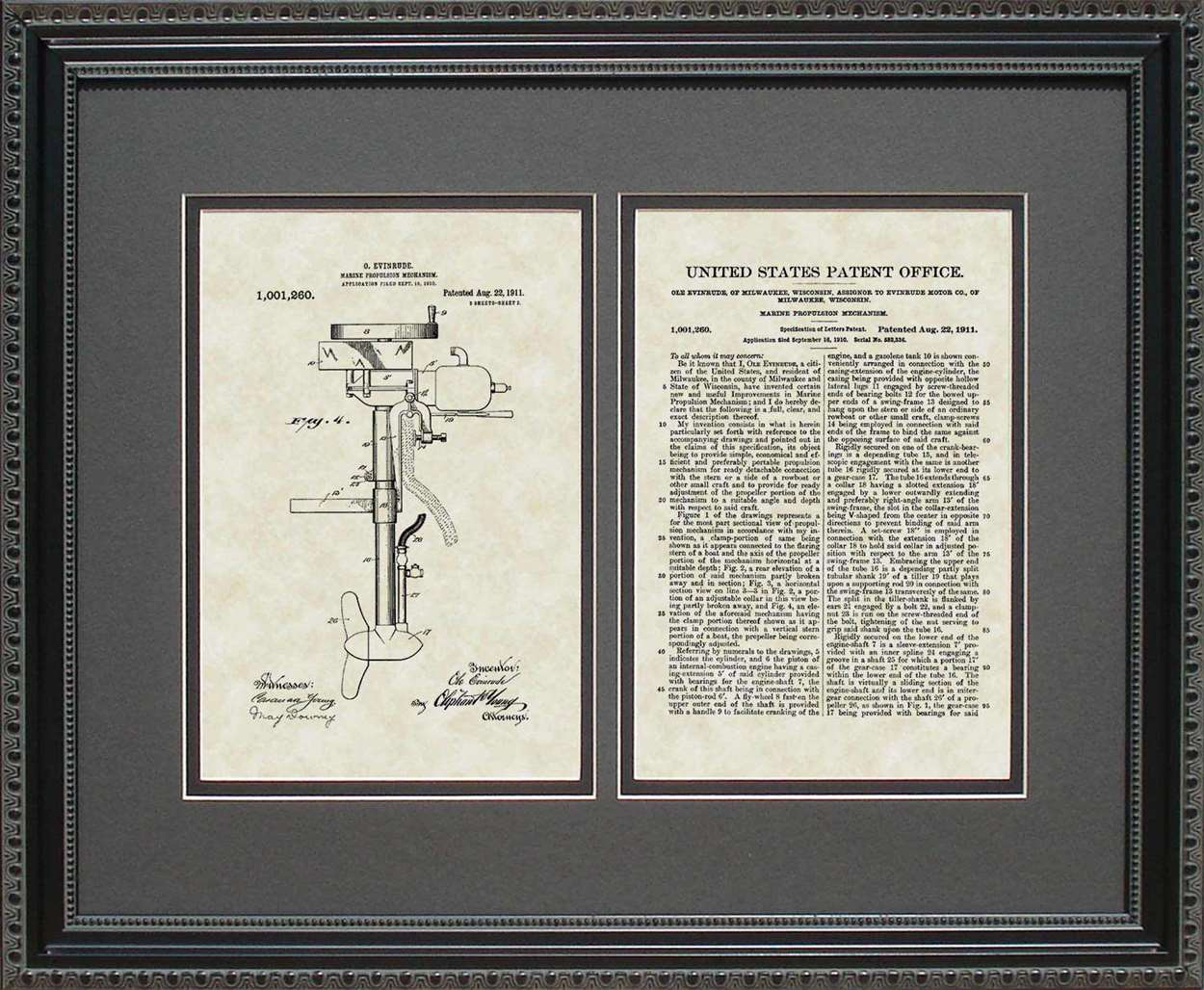 Outboard/Boat Motor Patent, Art & Copy, Evinrude, 1911, 16x20