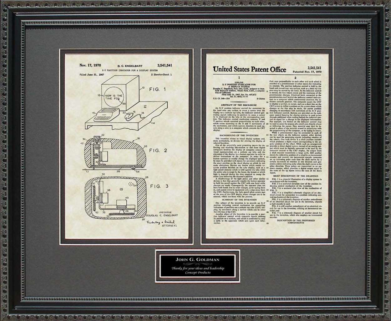 Personalized Computer Mouse Patent, Art & Copy, Engelbart, 1970