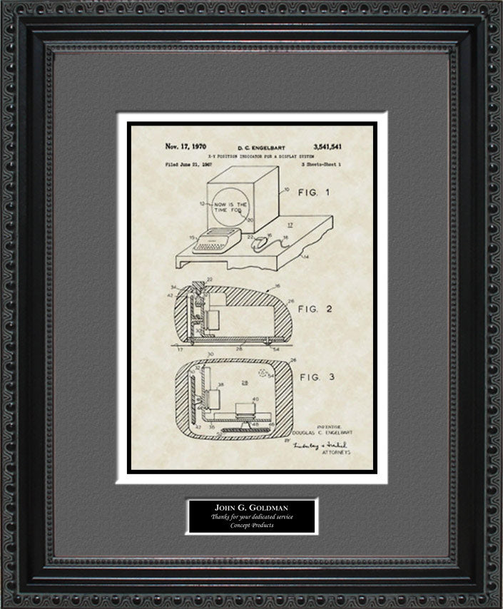 Personalized Computer Mouse Patent Art, Engelbart, 1970